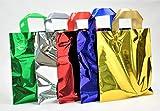 Bolsas metalizadas con asa suave varios tipos para caja de regalo y transporte de diferentes tamaños y colores (surtido de 5 colores metálicos, 40 x 50 cm, 25 unidades)