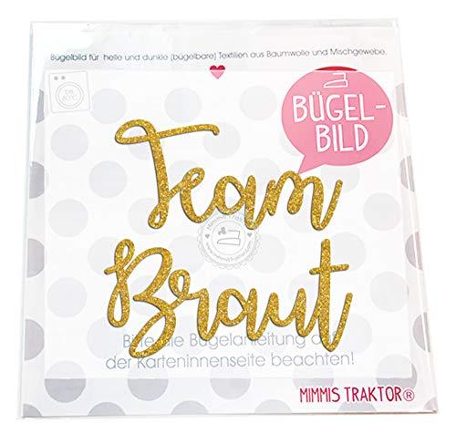 GLITZER Bügelbild Team Braut JGA 18 cm, Farbe:Glitzer gold