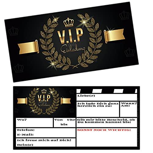 VIP EINLADUNG Kartenset XL (25 Stück) - edle Premium Einladungskarten für VIP Party Silvester Geburtstag Jungen Mädchen Erwachsene von BREITENWERK