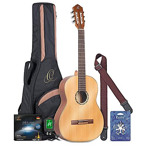 Ortega R122SN Guitarra Clássica de Tamanho Normal (Natural), Gola de Mogno, Acabamento de Cetim com Bolsa, Cordões, Capo, Palitos e Acessórios Essenciais