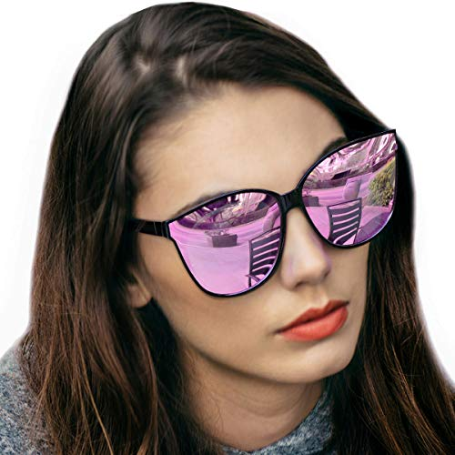 LVIOE Cat Eyes Mirrored Sunglasses for Women, Polarized Oversized Fashion Vintage Eyewear for Driving Fishing UV400 Protection (Black2, Pink)