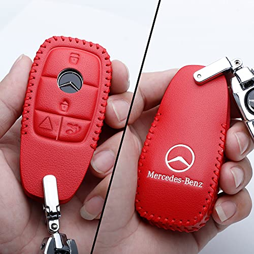 Mercedes Benz key fob cover,Special Genuine Leather Key Case Protector Compatible with Mercedes Benz 2017-2021 E-Class 2018-2021 S-Class 2019-2021 A-Class C-Class G-Class (Red)