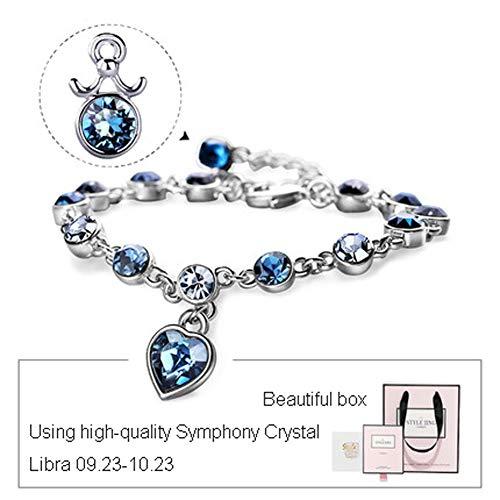 Dames kralen Armband 12 Constellation Gem Hanger Armband Verstelbaar, Kristal Blauw Valentijn Meisje Vriendin Cadeau.