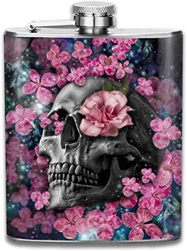 Schädel und rosa Blumen Outdoor tragbare 304 Edelstahl auslaufsicher Whisky Schnaps Wein 7 Unzen Topf Flachmann Reisen Camping Flagon für Mann Frau Kolben großes kleines Geschenk