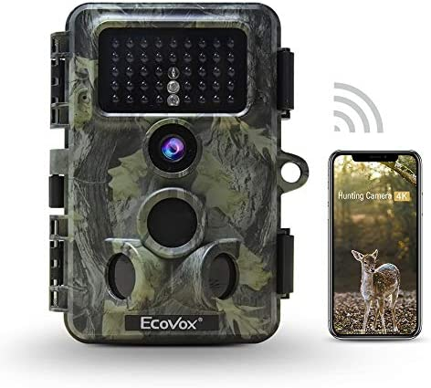 Ecovox 4K WiFi Trail Camera 30MP Bluetooth Hunting Camera with No Glow Infrared Night Vision product image