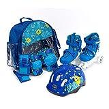 SMJ - Set pattini in linea per bambini, 2 in 1, regolabili, set di protezioni + casco + borsa (26-29)
