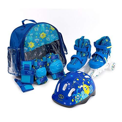 SMJ Kinder Set 2in1 Inliner Rollschuhe VERSTELLBAR Inline Skates + Schonerset + Helm + Tasche (26-29)