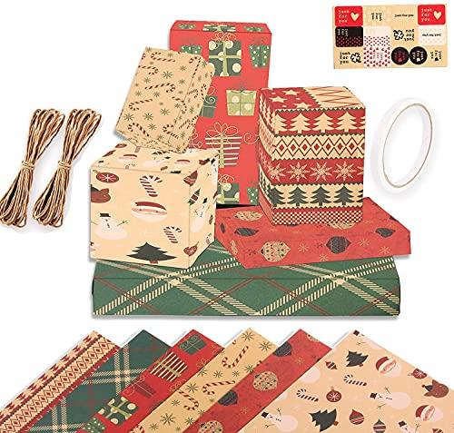 Navidad Papel Kraft Papel de Regalo, Papel de Regalo Reciclable Papel Marrón Doblado Retro Papel de Regalo Kraft Papel Para Envolver De Navidad Set, 6 Diseños, para regalo de fiesta navideña,70x50 cm