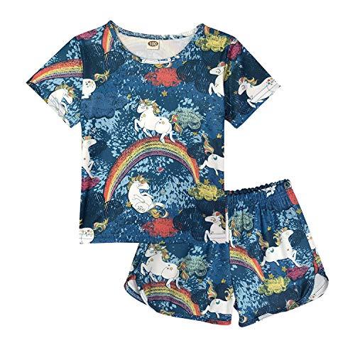 ModaIOO Chicas Unicornio 2 Piezas Conjunto Pijamas Manga Corta(8017,Navy,120)