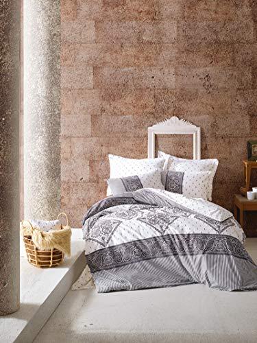 Cotton Box Colección de Ropa de Cama: 1 Funda de Almohada 80X80 Cm, y 155X220 Cm Funda Edredón, Bohemio Ranforce - Diseñado y Fabricado en Turquía