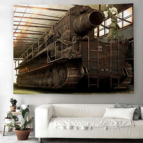 DMWSD Game Anime Character Tapestry Girls Und Panzer Anchovy Morser Karl Group Photo HD Digital Printing Polyester Fabric Beach Towel Very Suitable Room Wall Decoration