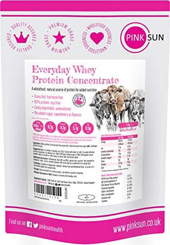 PINK SUN Proteina del Siero di Latte in Polvere Concentrato 1kg Neutro Everyday Whey Protein Puro Naturali Vegetariano Non Denaturato Non Aromatizzato Senza Soia Senza Glutine 1000g