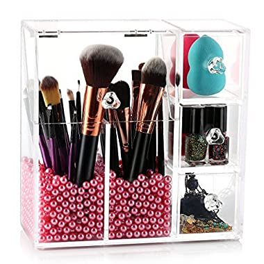 Makeup Brush Holder, HBlife Acrylic Makeup Organizer with 2 Brush Holders and 3 Drawers Dustproof Box with Free Pearl