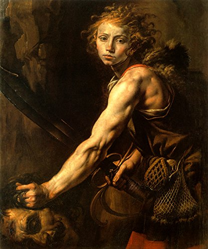 WONDERFULITEMS David with The Head of Goliath Biblical Italian Painting by TANZIO DA VARALLO 20' X 24' Image Size REPRO Canvas Rolled UP