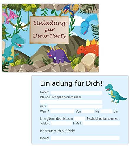 15er Kartenset Einladungskarten Kindergeburtstag, Geburtstagseinladungen Dinosaurier, Dino, Party-Einladungen (15 Karten Dino)