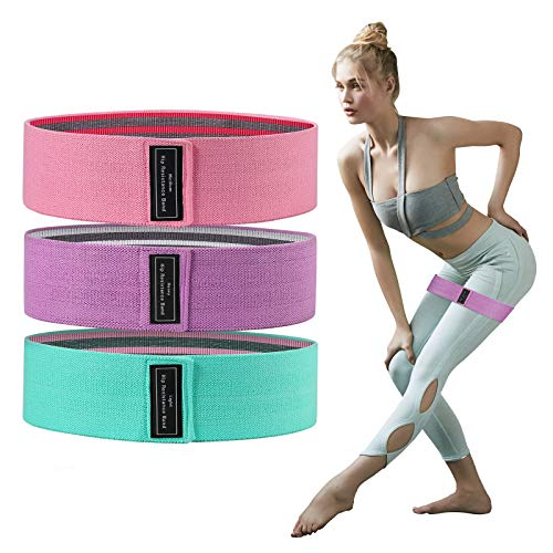 Secmote Resistance Bands for Legs Butt Glute Squats Stretch, Elastic Workout Loop Exercise Bands for Home Fitness, Strength Training, Physical Therapy, Yoga(Pink)