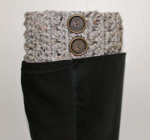 Fashionable Handmade Crochet Grey Marble Boot Cuffs Boot Toppers Leg Warmers product image