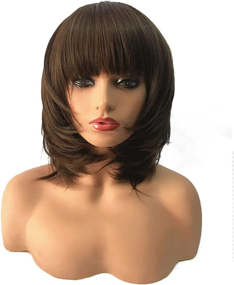 QWSNED Wigs Headband Wig depot outlet Human Hair Ladies mid-Length Synthetic