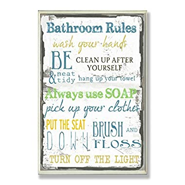 Stupell Home Décor 'Bathroom Rules ' Typography Bathroom Wall Plaque, 10 x 0.5 x 15, Proudly Made in USA