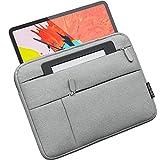 XeloTech schlanke Tasche für iPad Pro 11, iPad Air 10.9 2020, iPad 10.5, 9.7, Surface Go, Top Schutz - Extra Seitentaschen für Kabel und Zubehör