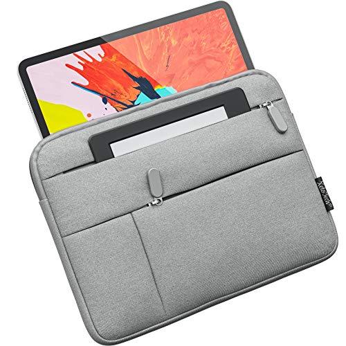 XeloTech schlanke Tasche für iPad Pro 11, iPad Air 10.9 2020, iPad 10.5, 9.7, Surface Go, Top Schutz - Extra Seitentaschen für Kabel & Zubehör