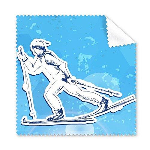 Winter Sport Snowboarden Contes Atleten Ski Actie Blauw Wit Aquarel Illustratie Bril Doek Schoonmaak Doek Telefoon Scherm Cleaner 5 stks