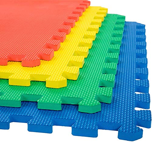 LILTOES EVA Kid's Interlocking Play Mat -12 mm Thickness -Set of 8 Tiles -56 x 56 cm Each Tile -32 Square Feet Total Area (Multicolour)