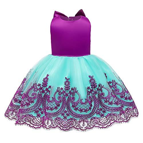 Alwayswin Kinder Mädchen Party Kleider Lace Bow Princess Kleid Brautjungfer Pageant Gown Birthday Kleid Brautkleid Ärmellos Backless Prinzessin Tutu Kleid Kurzes A-Linien Kleid