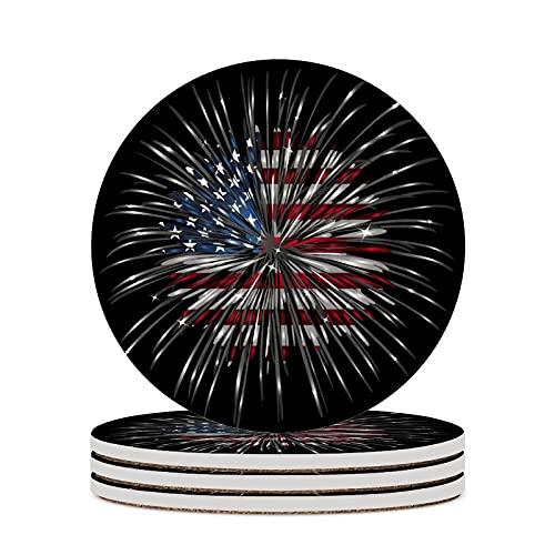 Posavasos para té con bandera americana de fuego, cojín para decoración del hogar, tazas de corcho, almohadillas para sala de estar, mesa, protección contra arañazos, tazas redondas, 4 piezas