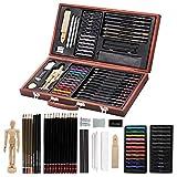 Lucky Crown Kit de arte profesional, 58 piezas de dibujo y arte de dibujo, suministros de arte para dibujo, pintura y juego de madera - Kit de arte para niños, adolescentes y adultos