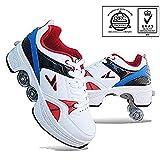 LRZ Patins à Roues alignées Poulie Chaussures Multifonctionnel Déformation Roller Patinage Quad Patinage Sports de Plein air pour Adultes Enfant,42