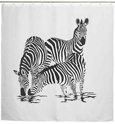 Grinscard Duschvorhang mit Afrika Motiv - Weiß Zebra Family Design 180 x 180 cm - Dusch-Vorhang als Geschenkidee