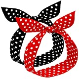 2 Piezas Diademas de Lunares Rojos para Niños y Mujer Diadema de Bandana Retro Diadema de Alambre de Los Años 50 Diadema Navideña con Estampado Vintage