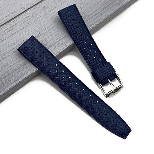 XKMY Correa de reloj de goma trópica, 20 mm, 22 mm, correa de silicona deportiva para hombres, impermeable, para accesorios de reloj Seiko (color de la correa: negro, ancho de la correa: 20 mm)