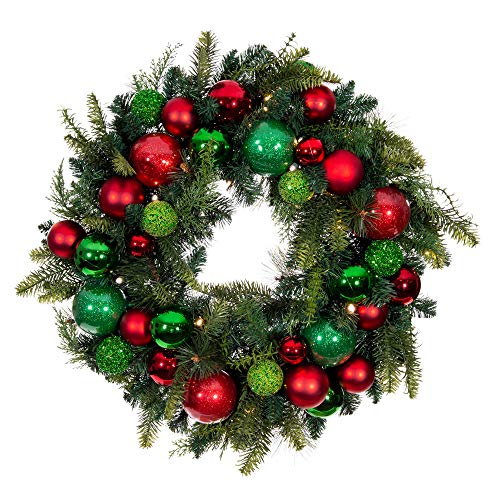 [30 Inch Artificial Christmas Wreath] - Christmas Cheer Collection - Red and Green Decoration - Pre Lit with 50 Warm Clear Colored LED Mini Lights - Includes Remote Controlled Battery Pack with Timer