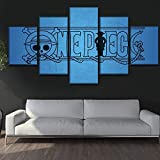WARMBERL Cuadro sobre Lienzo One Set 5 Panel Anime One Piece Logo Poster Canvas HD Print Painting Wall Art Decor Picture Work Or Un Marco Nuevo Impresiones En Lienzo