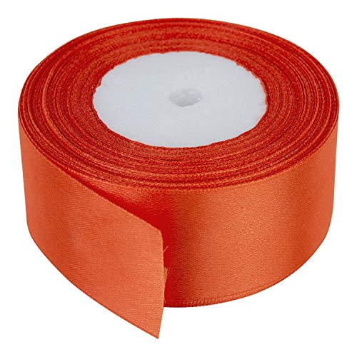Trimming Shop - Rotolo di Nastro in Raso di Poliestere a Doppia Faccia da 40 mm x 25 Metri Arancione per Tessuti, Creazioni Fai da Te, Imballaggio, Fiocchi, Confezioni Regalo e Decorazioni Nuziali
