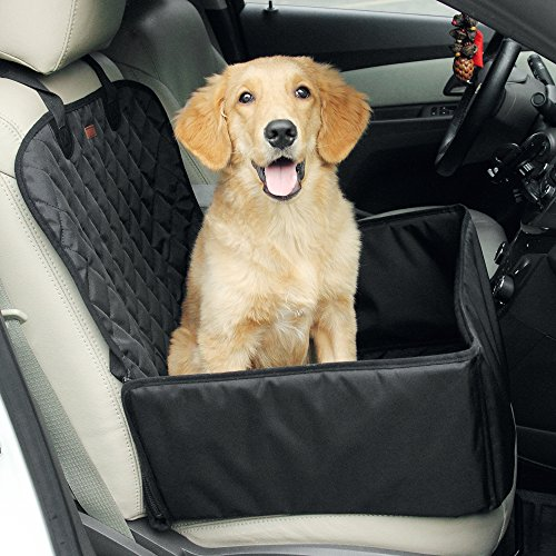 2-in-1 Dog Car Seat Cover Pet Car Hammock Waterproof Cat Carrier Protector for Travel, Car SUV Protection Against Dirt and Pet Fur Seat Covers (Black)