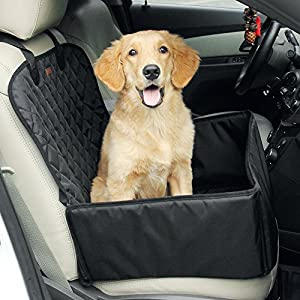 amorus 2-in-1 Dog Car Seat Cover Pet Car Hammock Waterproof Cat Carrier Protector for Travel, Car SUV Protection Against Dirt and Pet Fur Seat Covers (Black)