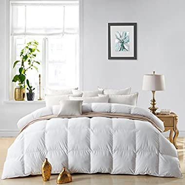 Egyptian Bedding LUXURIOUS 800 Thread Count HUNGARIAN GOOSE DOWN Comforter Duvet Insert - Full/Queen Size, 750 Fill Power, 50 oz Fill Weight, 100% Egyptian Cotton Cover