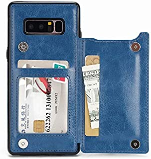 حافظة حماية مقاومة للصدمات على شكل محفظة مزودة بحامل للبطاقات ومسند وفتحات للبطاقات لهاتف جالكسي نوت 8، لون ازرق