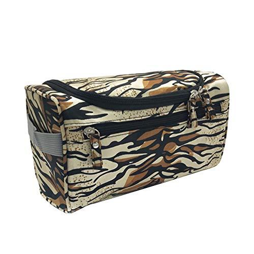 MoGist Trousse de Toilette Sac de Rangement Imperméable Sac de Voyage Maquillage Étanche Tissu Oxford Brown Blanc 26 * 15 * 16cm