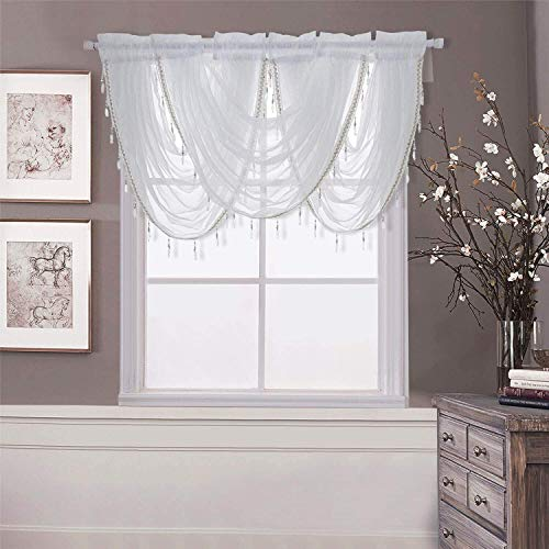 WUBODTI Waterfall Valance Curtains Sheer for Windows,White Silver Silk Line Luxury Beaded Curtain Valance Sheer Window Curtain with Tails,Rod Pocket Single Valance Drapes,32 x 24 Inch,1 Panel