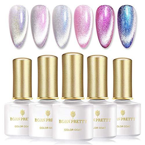 BORN PRETTY Magnetischer Gel Nagellack Auroras Snowlight Shining Cat Eye Gel-Lack 4 Farben einweichen