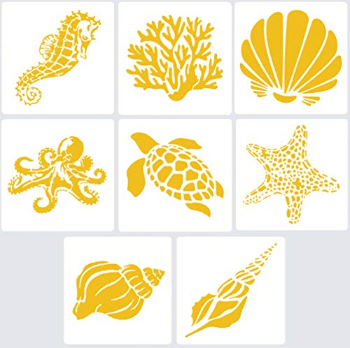 8 Mixed Media Sea Creatures Animals Stencils Set 5.1x5.1' Templates for Arts Card Making Journaling Scrapbooking DIY Furniture Wall Floor (Starfish, Conch, Seahorse, Coral, Shell ,Sea turtle, octopus)