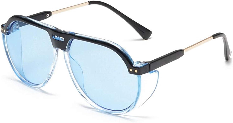 LTWAAXP Sunglasses Round Women Sunglasses Punk Transparent Vintage Eyeglasses Lady Sun Glasses,bluee