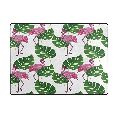 Zone Tapis, Rose Flamant rose Tropical Imprimé Feuille Tapis Designer doux Polyester Grande antidérapant Tapis de bain moderne pour chambre à coucher Salon Hall Table Home Decor 121,9 x 160