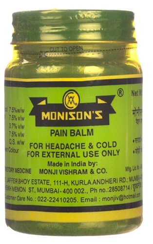 Monisons Ayurvedic Pain Balm For Headache, Joint Pain Cold Relief 100 gms (1)