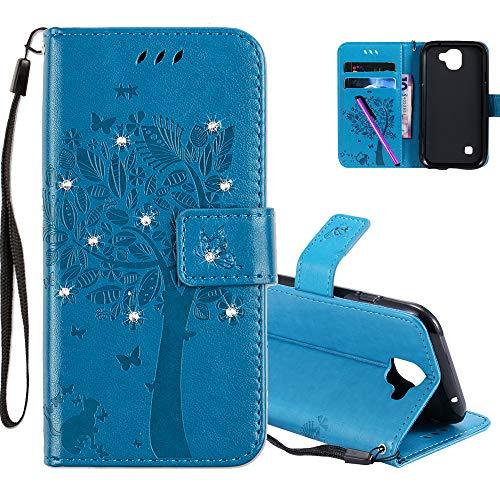 COTDINFOR LG K3 2017 Hülle für Mädchen Elegant Retro Premium PU Lederhülle Handy Tasche mit Magnet Standfunktion Schutz Etui für LG K3 2017 Blue Wishing Tree with Diamond KT.