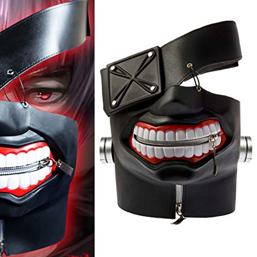 3D Tokyo Ghoul Mask, PU Leather Kaneki Ken Mask, Adjustable Zipper Mask Costume Props for Halloween Cosplay Black
